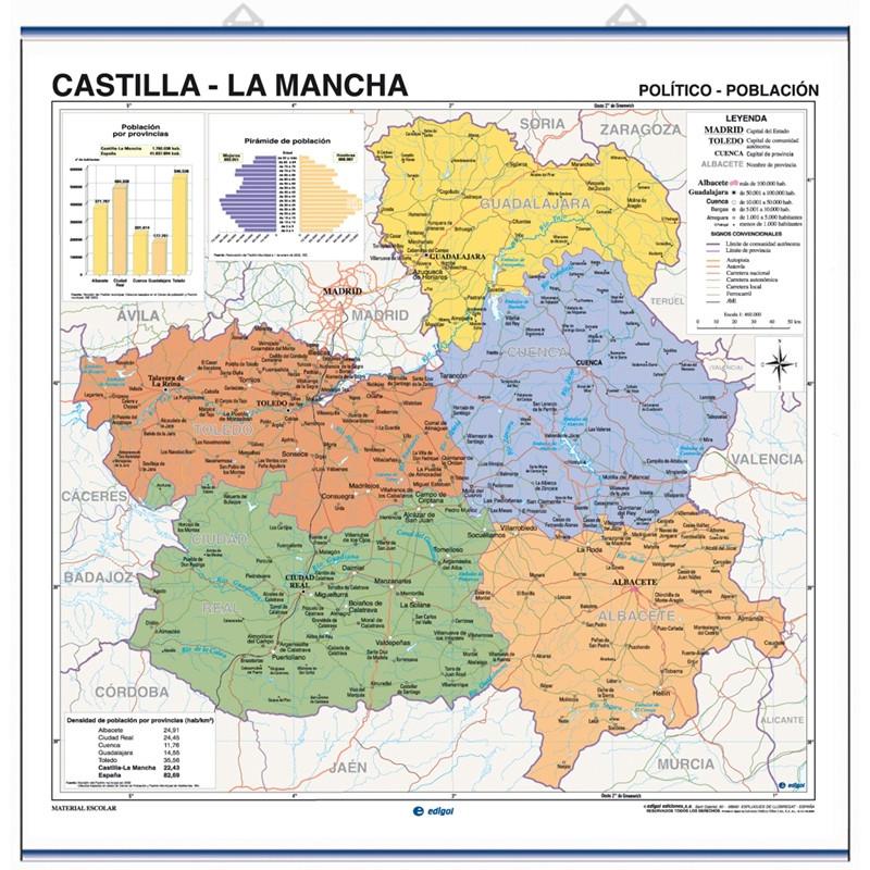 Castilla-La Mancha Wall Map, Physical-Political / Economic