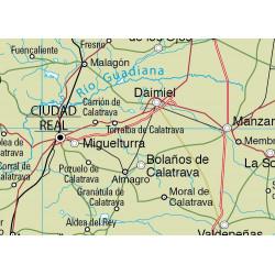 Mapa mural de Castella-la Manxa - Físic-Polític / Econòmic