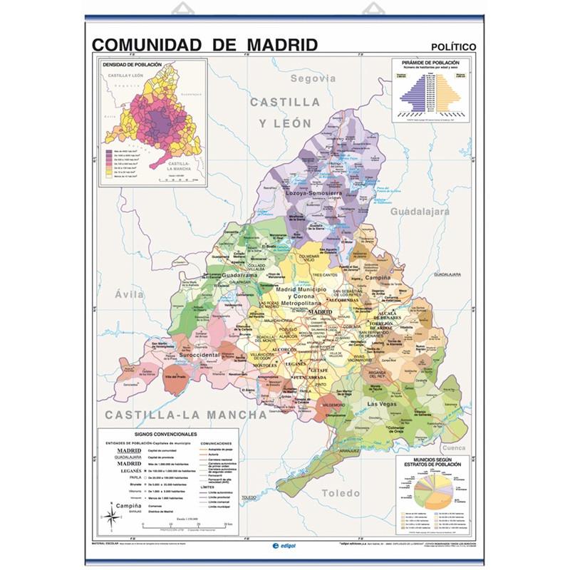 Mapa mural de la Comunitat de Madrid - Físic / Polític