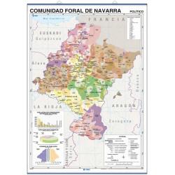 Mapa mural de la Comunidad Foral de Navarra - Físico / Político