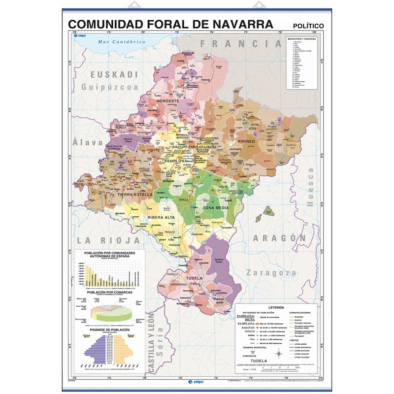 Mural map of the Community of Navarra, Physical / Political
