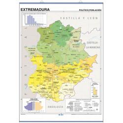 Mapa mural de Extremadura, Físico-Económico / Político-Población