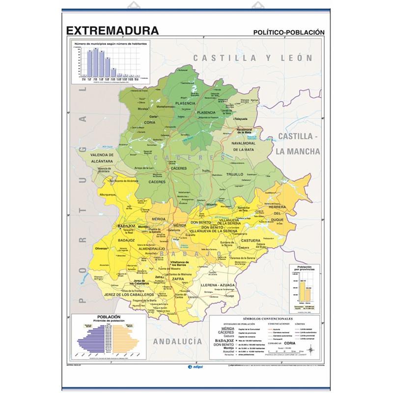 Mapa mural d'Extremadura, Físic-Econòmic / Polític-Població