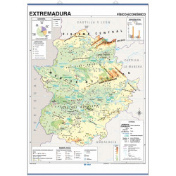 Extremadura Wall Map, Physical-Economic / Political-Population