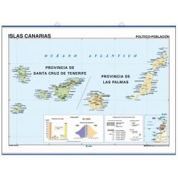 Mapa mural de les Illes Canàries - Físic / Polític