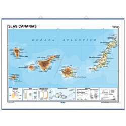 Canary Islands Wall Map, Physical / Political