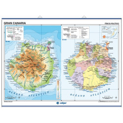 Wall map of Gran Canaria / Fuerteventura and Lanzarote, Physical / Political