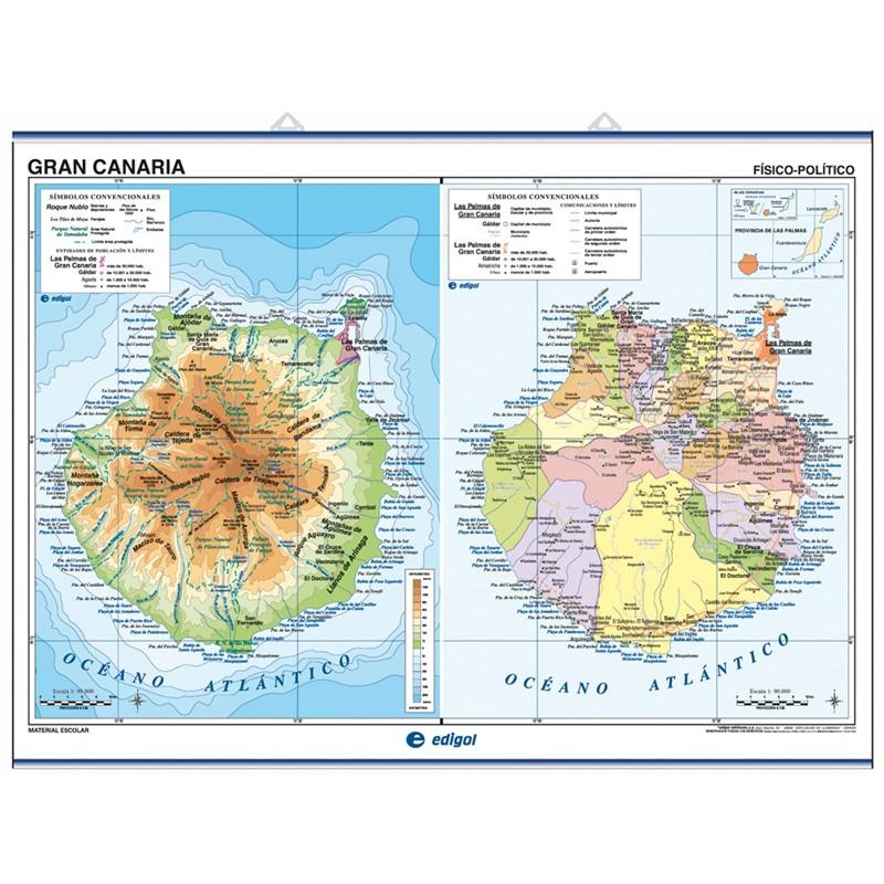 Mapa mural de Gran Canària / Fuerteventura i Lanzarote - Fís. / Pol.