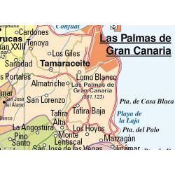 Carte murale de Grande Canarie / Fuerteventura et Lanzarote, Physique / Politique
