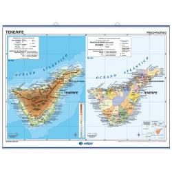 Mapa mural de Tenerife / La Palma, el Hierro y la Gomera, Físico / Político
