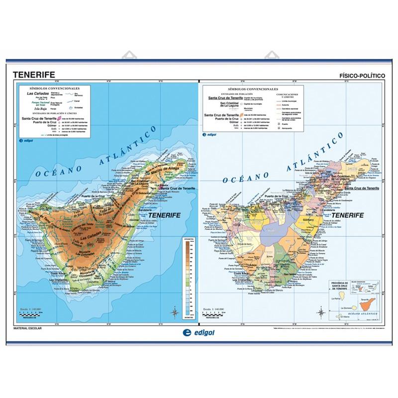 Carte murale de Tenerife / La Palma, El Hierro et La Gomera - Physique / Politique