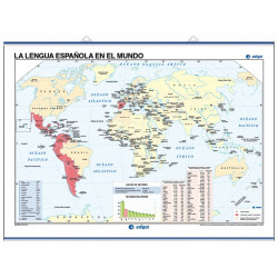 Mapa mural de la Llengua Espanyola al món / Mapamundi Físic