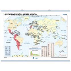 Mapa mural de La Lengua Española en el mundo / Mapamundi Físico
