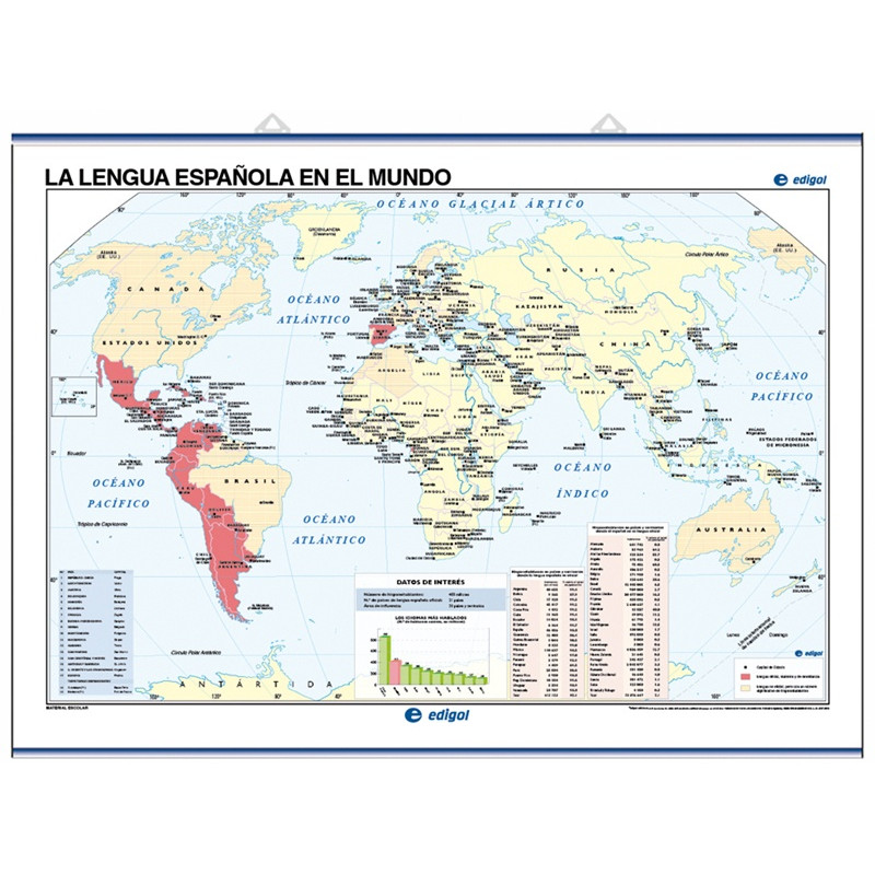 Wall Map of the Spanish Language in the world / Physical World Map