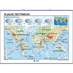 Carte murale - Reliefs Continentaux et Sous-marins / Plaques Tectoniques