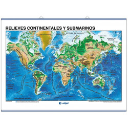 Wall Map - Continental and Underwater Reliefs / Tectonic Plates