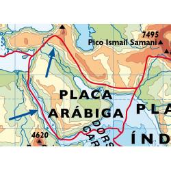 Mapa mural - Relieves continentales y submarinos / Placas Tectónicas