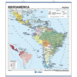 Wall map of Latin America, Physical / Political