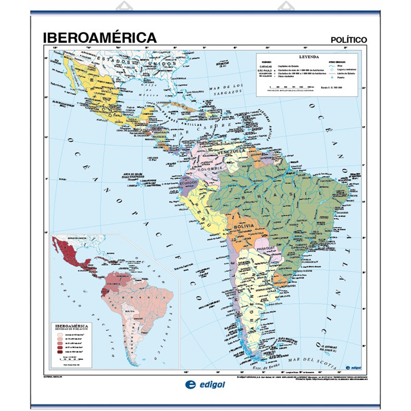 Mapa mural d'Iberoamèrica - Físic / Polític