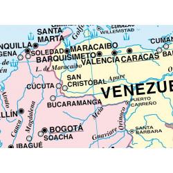 Carte murale de l'Amérique latine - Physique / Politique