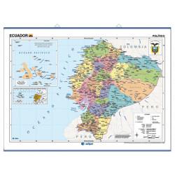 Mapa mural d'Ecuador - Físic / Polític