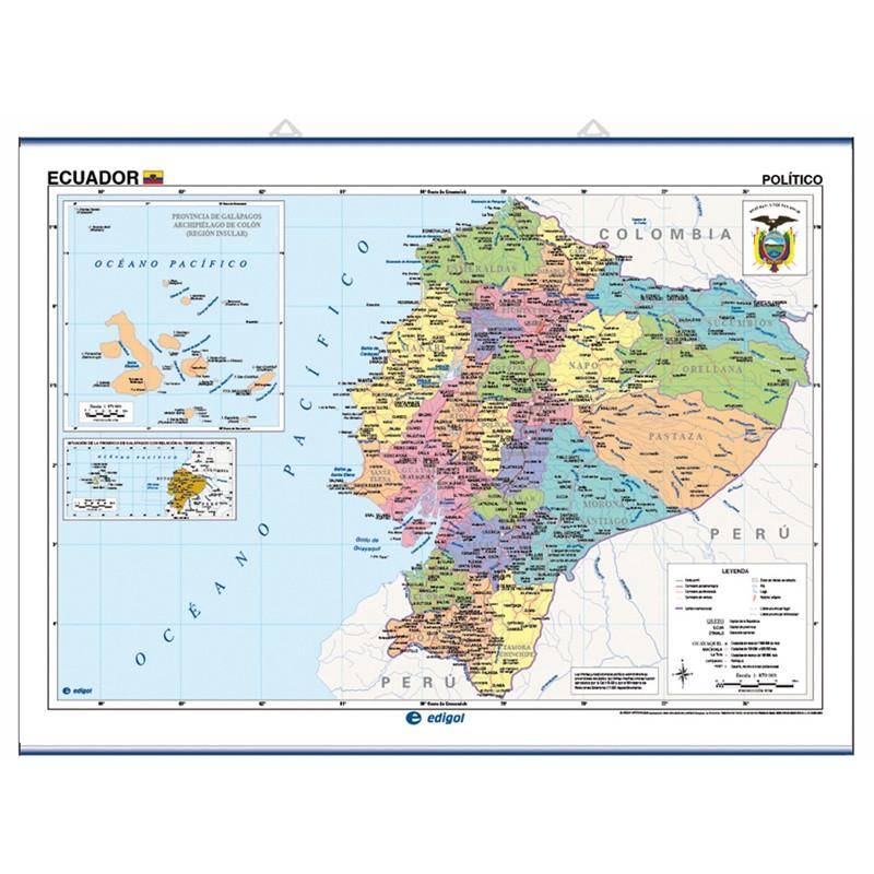 Carte murale de l'Équateur - Physique / Politique