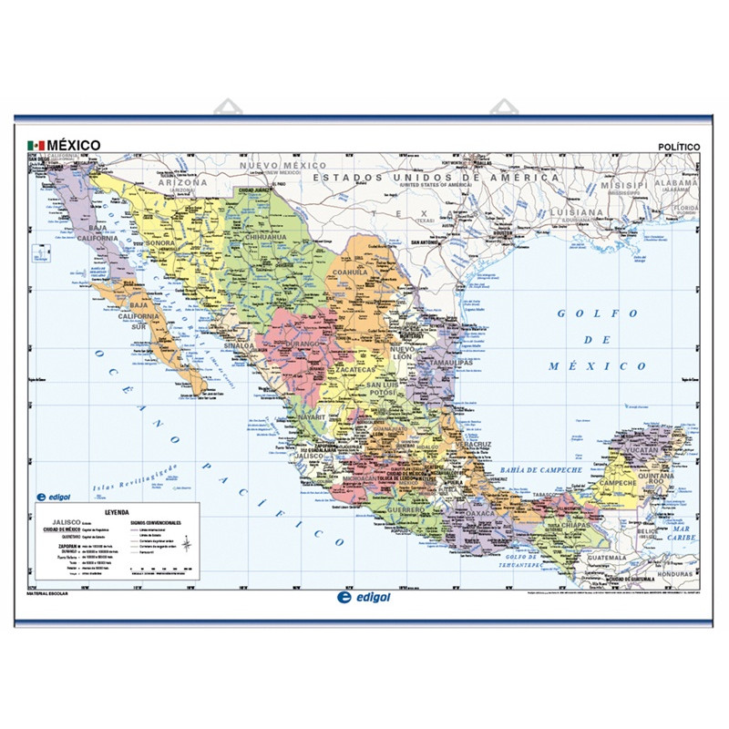 Mapa mural de Mèxic - Físic / Polític