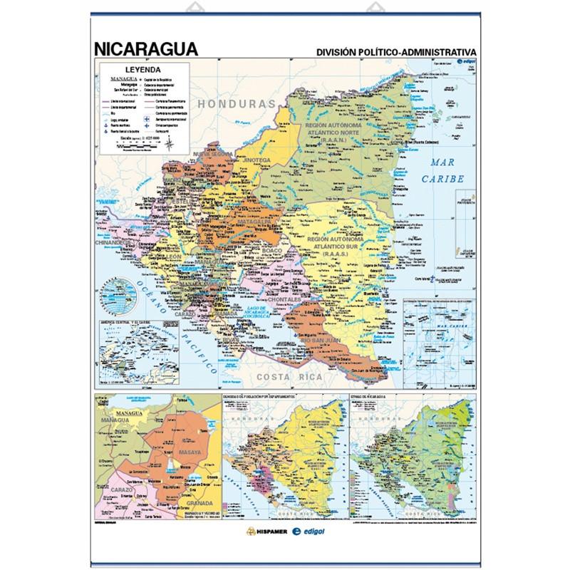 Mapa mural de Nicaragua - Físico / Político