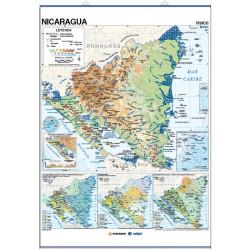 Mapa mural de Nicaragua - Físic / Polític