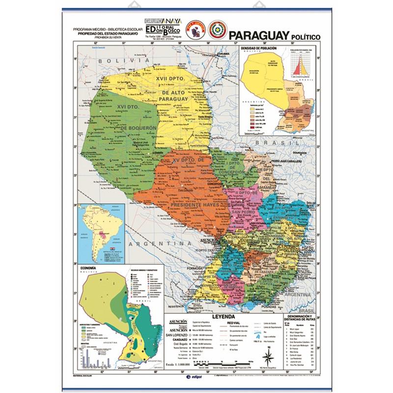 Mapa mural de Paraguai - Físic / Polític