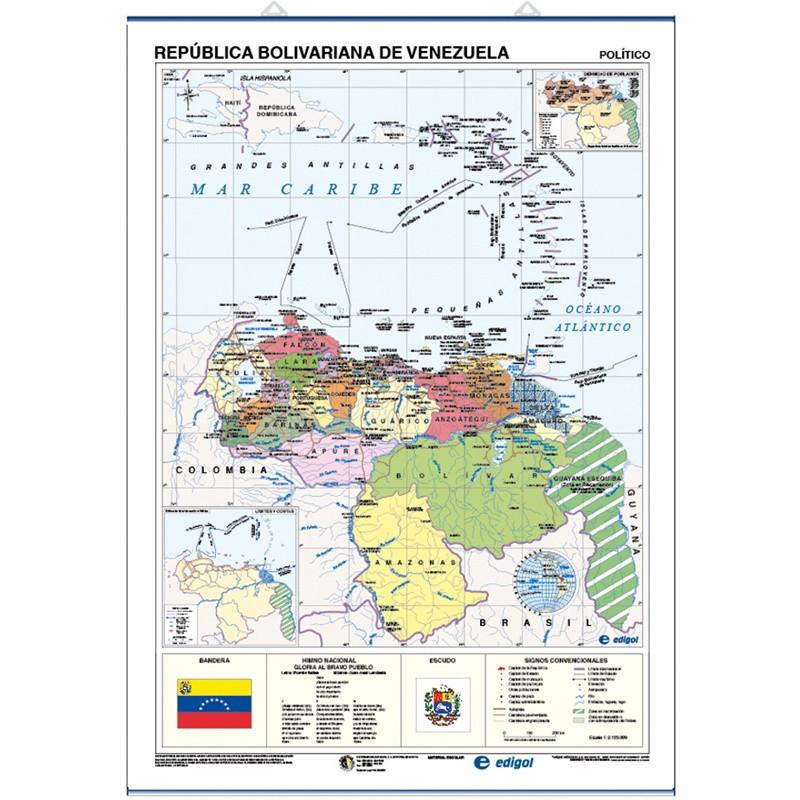 Mapa mural de Veneçuela - Físic / Polític