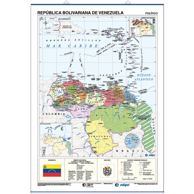 Venezuela Mural Map - Physical / Political
