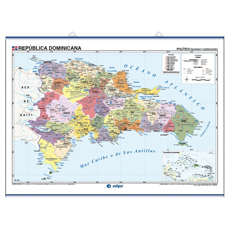Carte murale de la République dominicaine - Physique / Politique