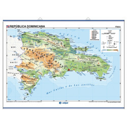 Mapa mural de la República Dominicana - Físico / Político