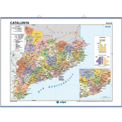 Catalonia Wall Map, Physical-Economic / Political-Population