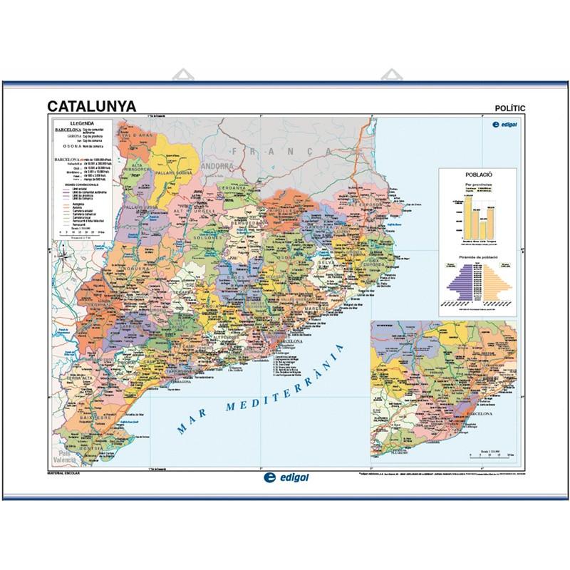 Mapa mural de Catalunya, Físic-Econòmic / Polític-Població