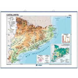 Carte murale de la Catalogne, Physico-Économique / Politique-Population