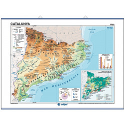 Wall map of Catalonia, Physical-Economic / Political-Population