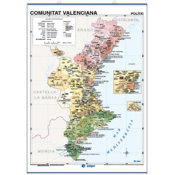 Valencian Community Wall Map, Physical-Economic / Political