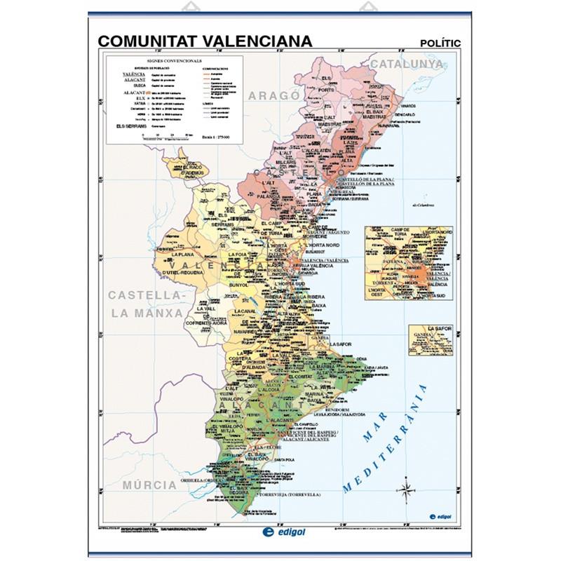 Mapa Fisico Comunitat Valenciana.Mapa Mural De La Comunitat Valenciana Fisico Economico Politico