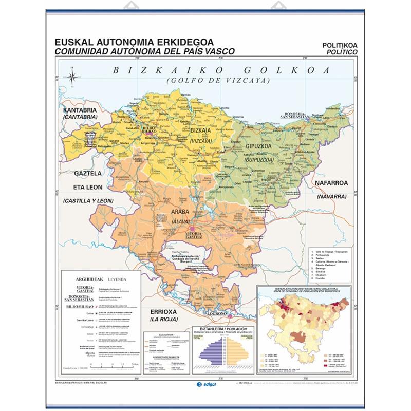 Mapa Fisico De Euskal Herria Para Imprimir.Mapa Mural De Euskadi Fisico Politico