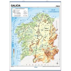 Carte murale de la Galice - Physique / Politique