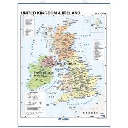 United Kingdom Wall Map - Physical / Political