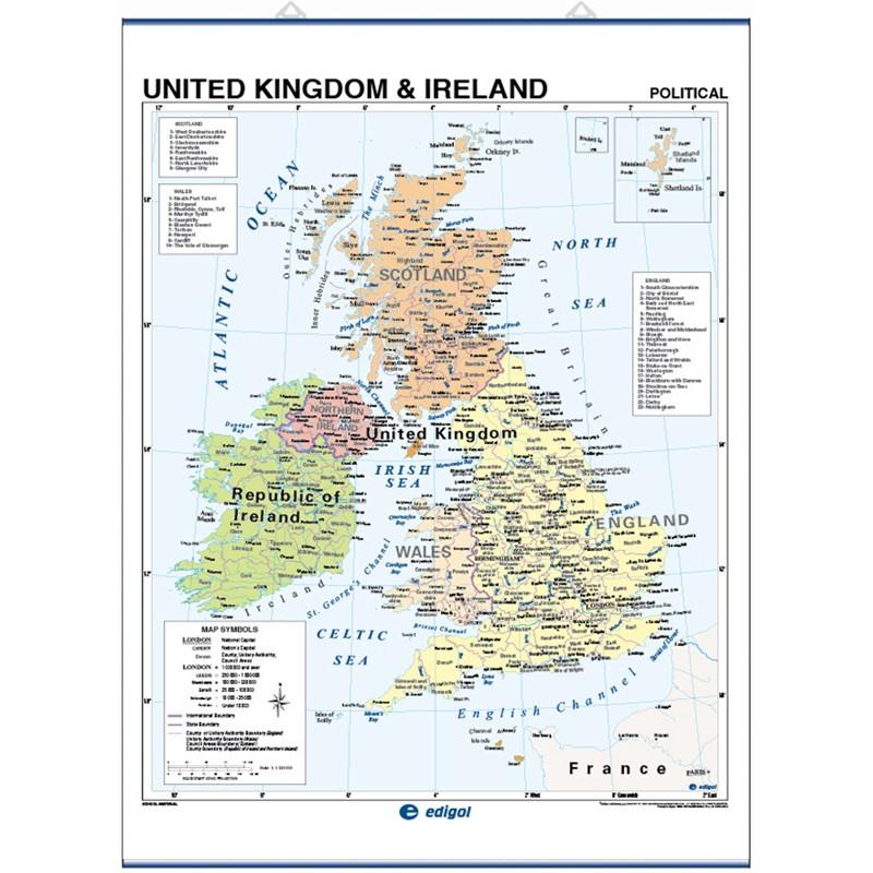 Carte murale du Royaume-Uni - Physique / Politique