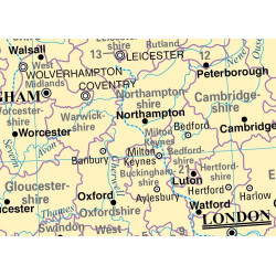 Mapa mural del Reino Unido - Físico / Político