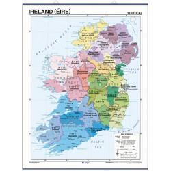 Mapa mural de Irlanda - Físico / Político