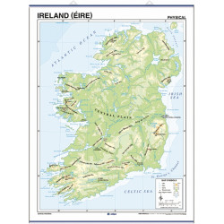 Carte murale d'Irlande - Physique / Politique