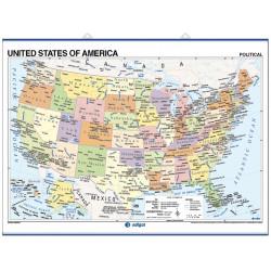 Mapa mural de Estados Unidos - Físico / Político