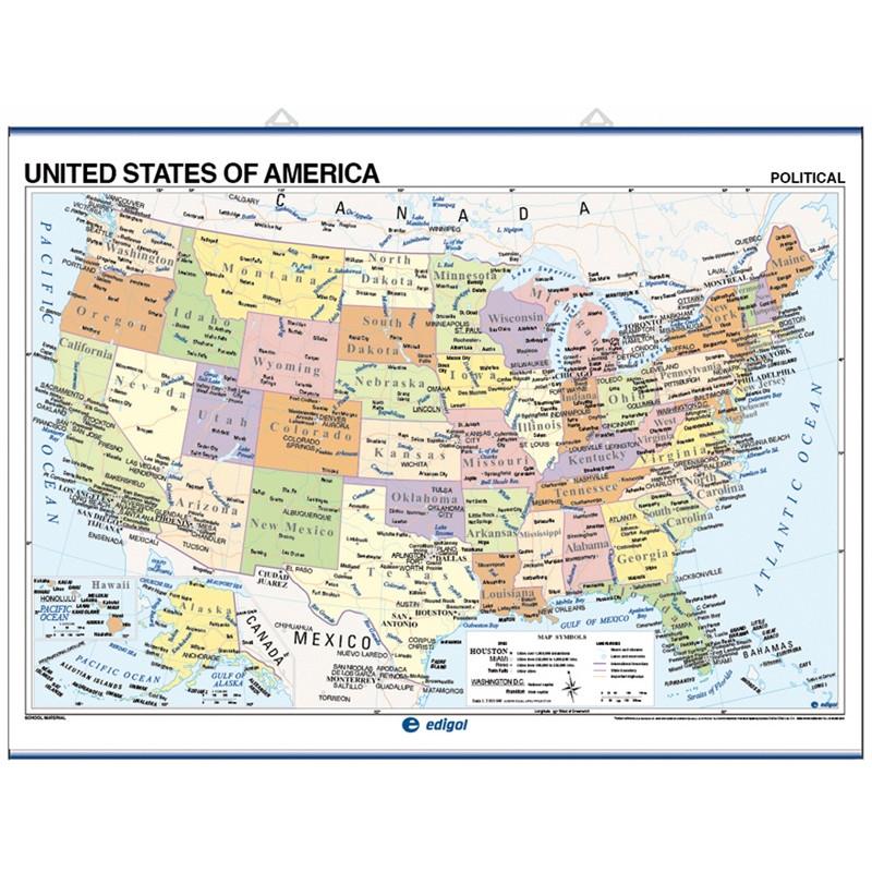 Mapa mural de Estados Unidos, Físico / Político