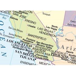 Mapa mural dels Estats Units - Físic / Polític